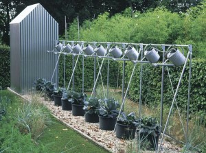 watering garden containers - clever idea