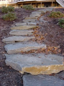 planning a garden - steps made from granite