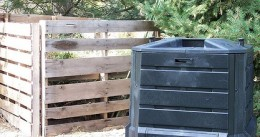 plastic and wooden home compost bins