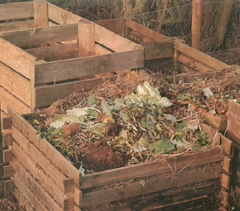 slatted wooden compost bins allow good aeration and help decomposition